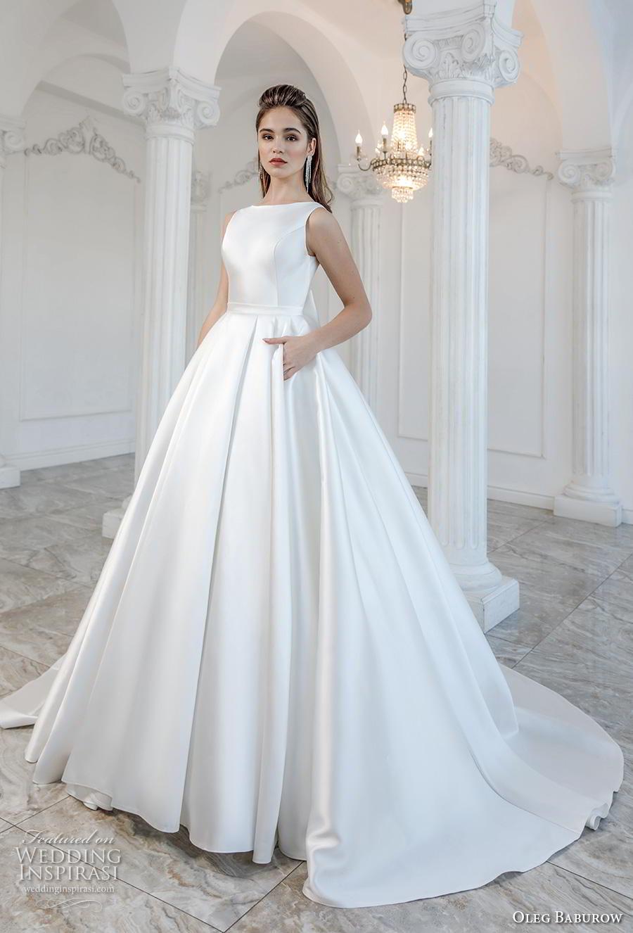 oleg baburow 2019 bridal sleeveless bateau neck simple minimalist pleated skirt elegant a  line wedding dress pockets v ribbon back chapel train (5) mv