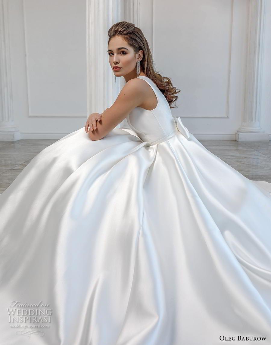 oleg baburow 2019 bridal sleeveless bateau neck simple minimalist pleated skirt elegant a  line wedding dress pockets v ribbon back chapel train (5) zsdv