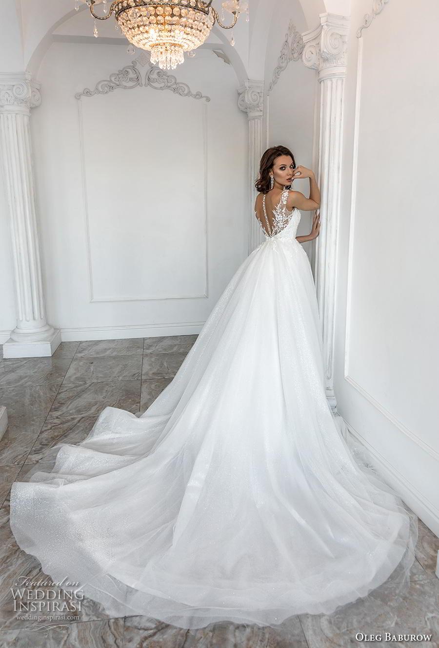 oleg baburow 2019 bridal sleeveless with strap sweetheart neckline heavily embellished bodice romantic a  line wedding dress sheer button back chapel train (7) bv