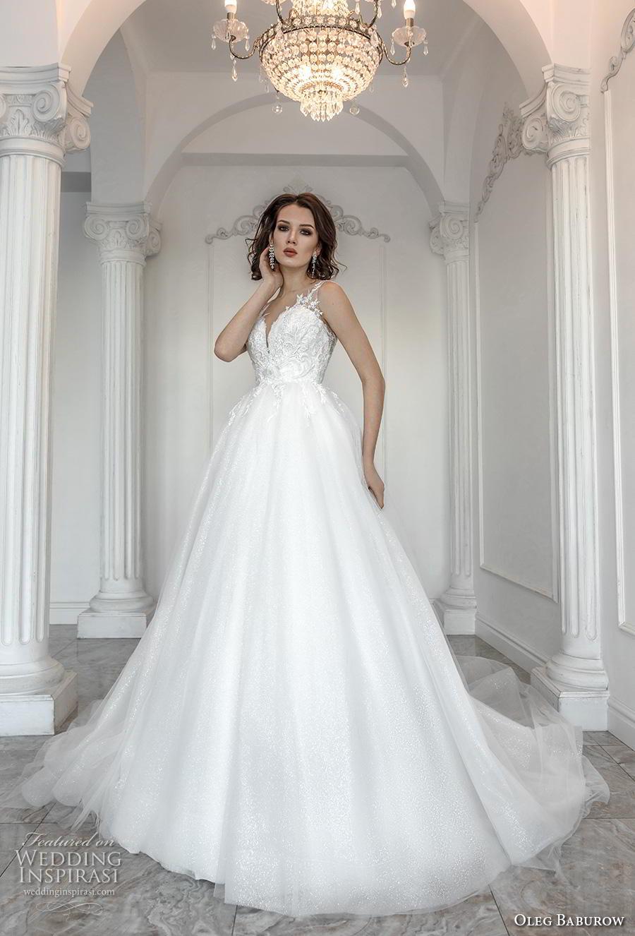oleg baburow 2019 bridal sleeveless with strap sweetheart neckline heavily embellished bodice romantic a  line wedding dress sheer button back chapel train (7) mv