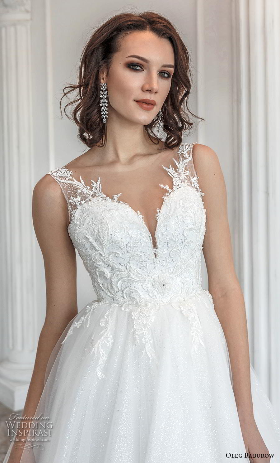 oleg baburow 2019 bridal sleeveless with strap sweetheart neckline heavily embellished bodice romantic a  line wedding dress sheer button back chapel train (7) zv