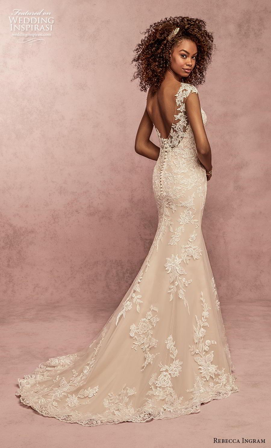 rebecca ingram s2019 bridal cap sleeves bateau neckline heavily embellised bodice hem elegant modified a  line wedding dress scoop back short train (9) bv