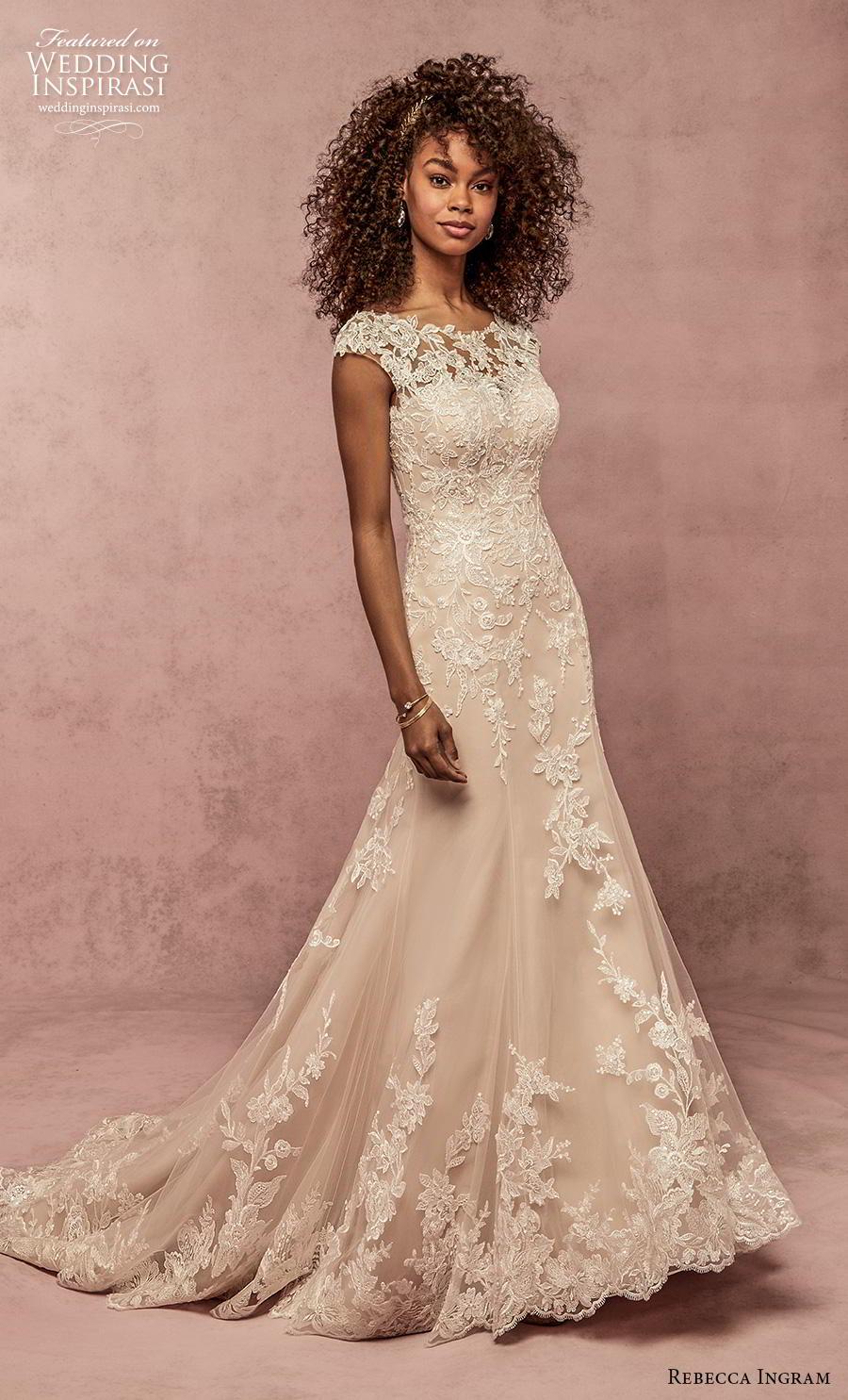 rebecca ingram s2019 bridal cap sleeves bateau neckline heavily embellised bodice hem elegant modified a  line wedding dress scoop back short train (9) mv