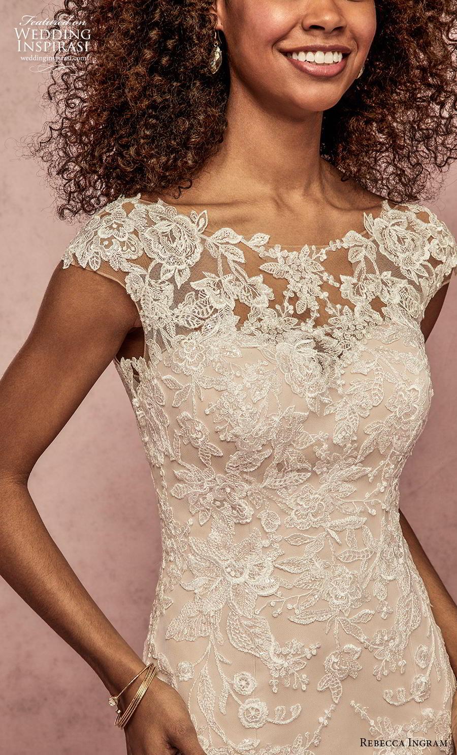 rebecca ingram s2019 bridal cap sleeves bateau neckline heavily embellised bodice hem elegant modified a  line wedding dress scoop back short train (9) zv