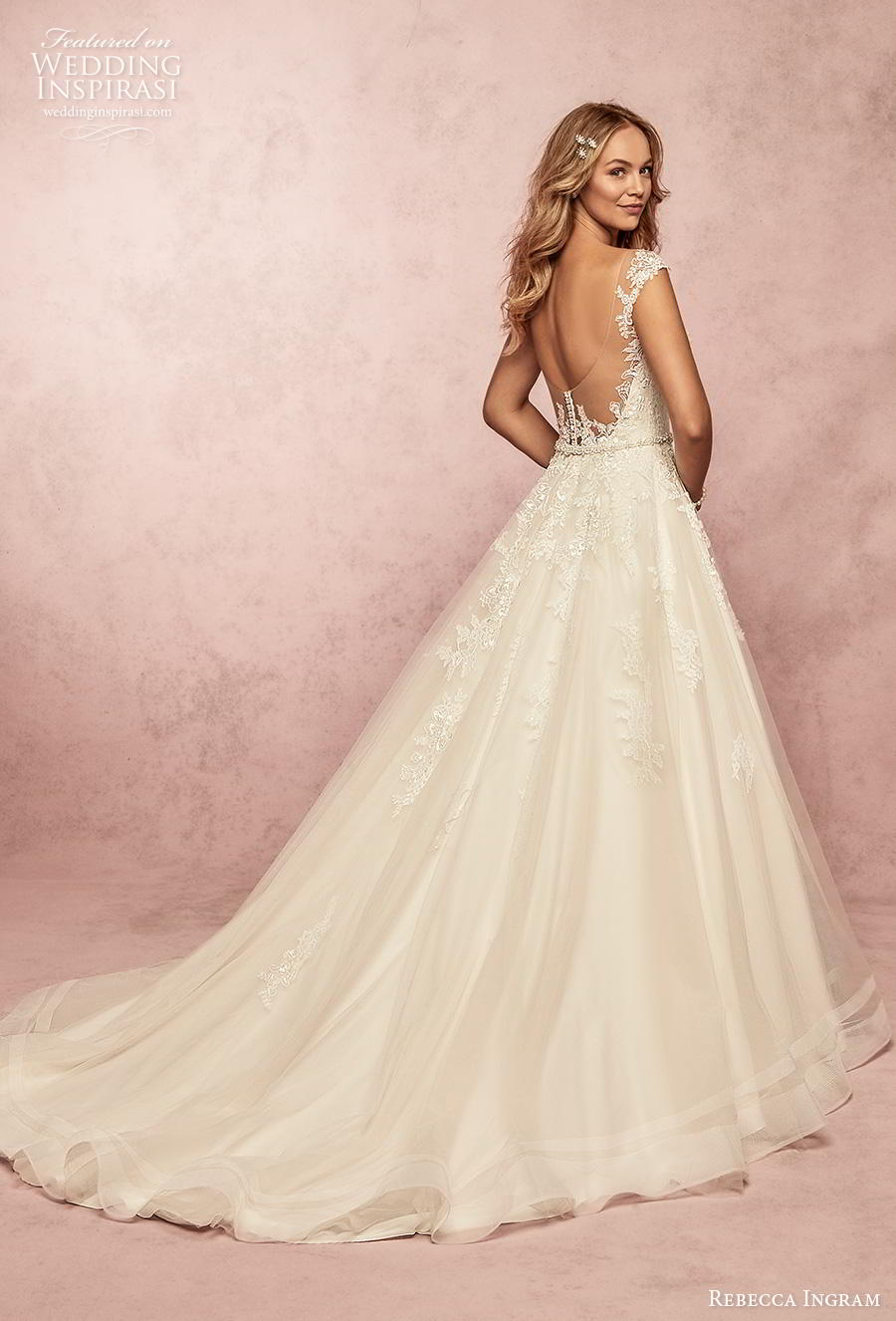 rebecca ingram s2019 bridal cap sleeves thick strap v neck heavily embellished bodice romantic a  line wedding dress backless scoop back chapel train (17) bv