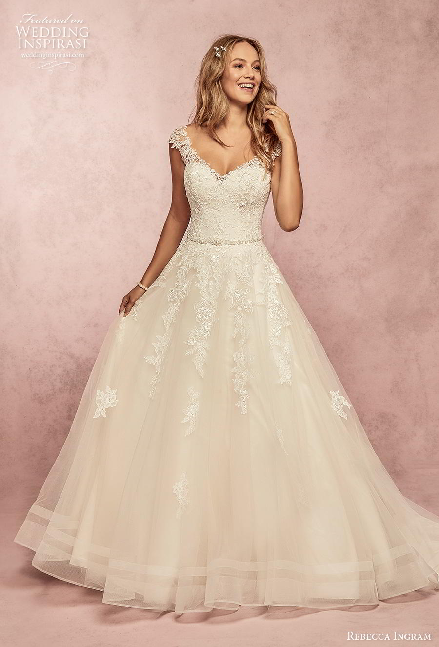 rebecca ingram s2019 bridal cap sleeves thick strap v neck heavily embellished bodice romantic a  line wedding dress backless scoop back chapel train (17) mv
