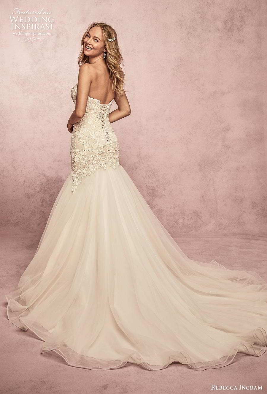 rebecca ingram s2019 bridal cap sleeves v neck heavily embellished bodice romanti mermaid wedding dress mid back chapel train (15) bv