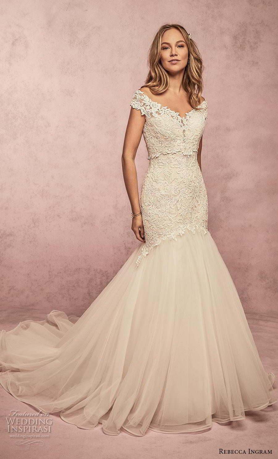 rebecca ingram s2019 bridal cap sleeves v neck heavily embellished bodice romanti mermaid wedding dress mid back chapel train (15) mv