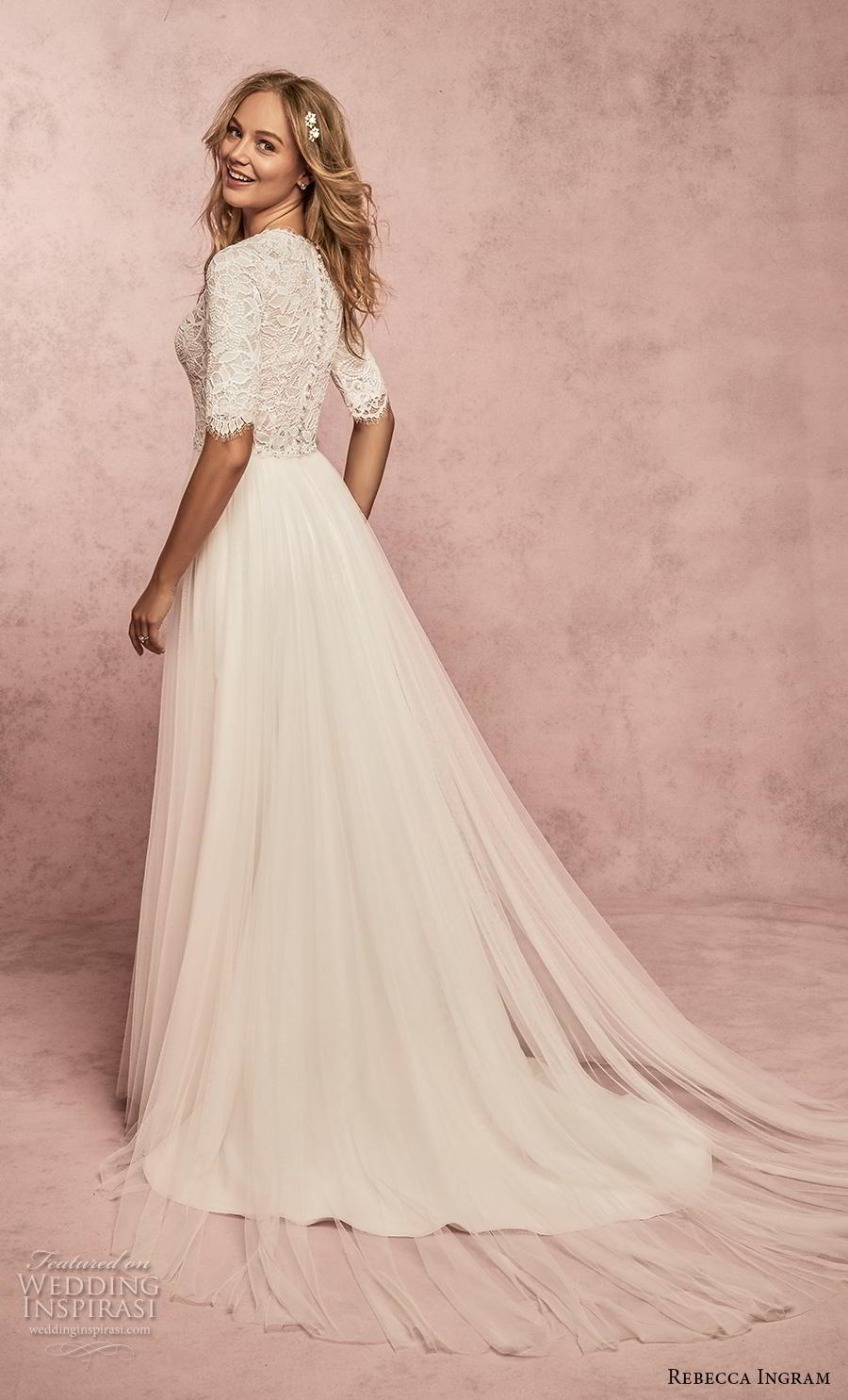 rebecca ingram s2019 bridal half sleeves v neck heavily embellished bodice romantic modest soft a  line wedding dress covered lace back sweep train (18) bv