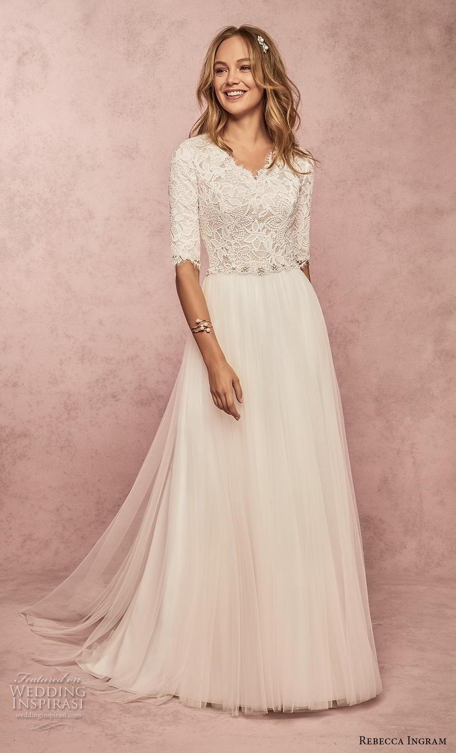 rebecca ingram s2019 bridal half sleeves v neck heavily embellished bodice romantic modest soft a  line wedding dress covered lace back sweep train (18) mv