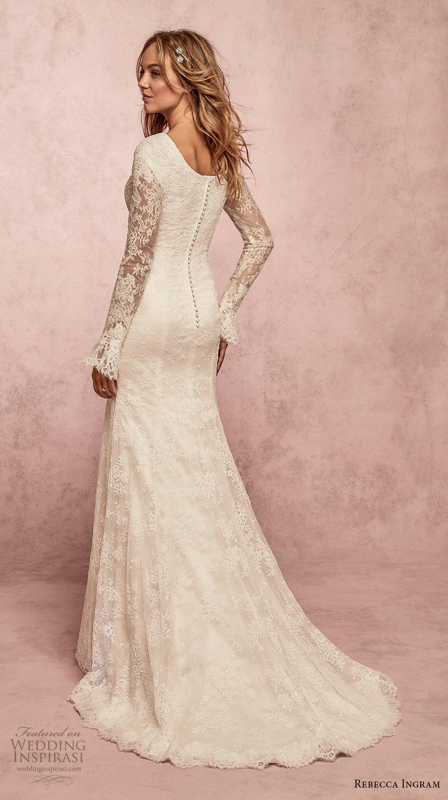 rebecca ingram s2019 bridal long poet sleeves v neck full embellishment elegant modest fit and flare wedding dress covered back sweep train (13) bv