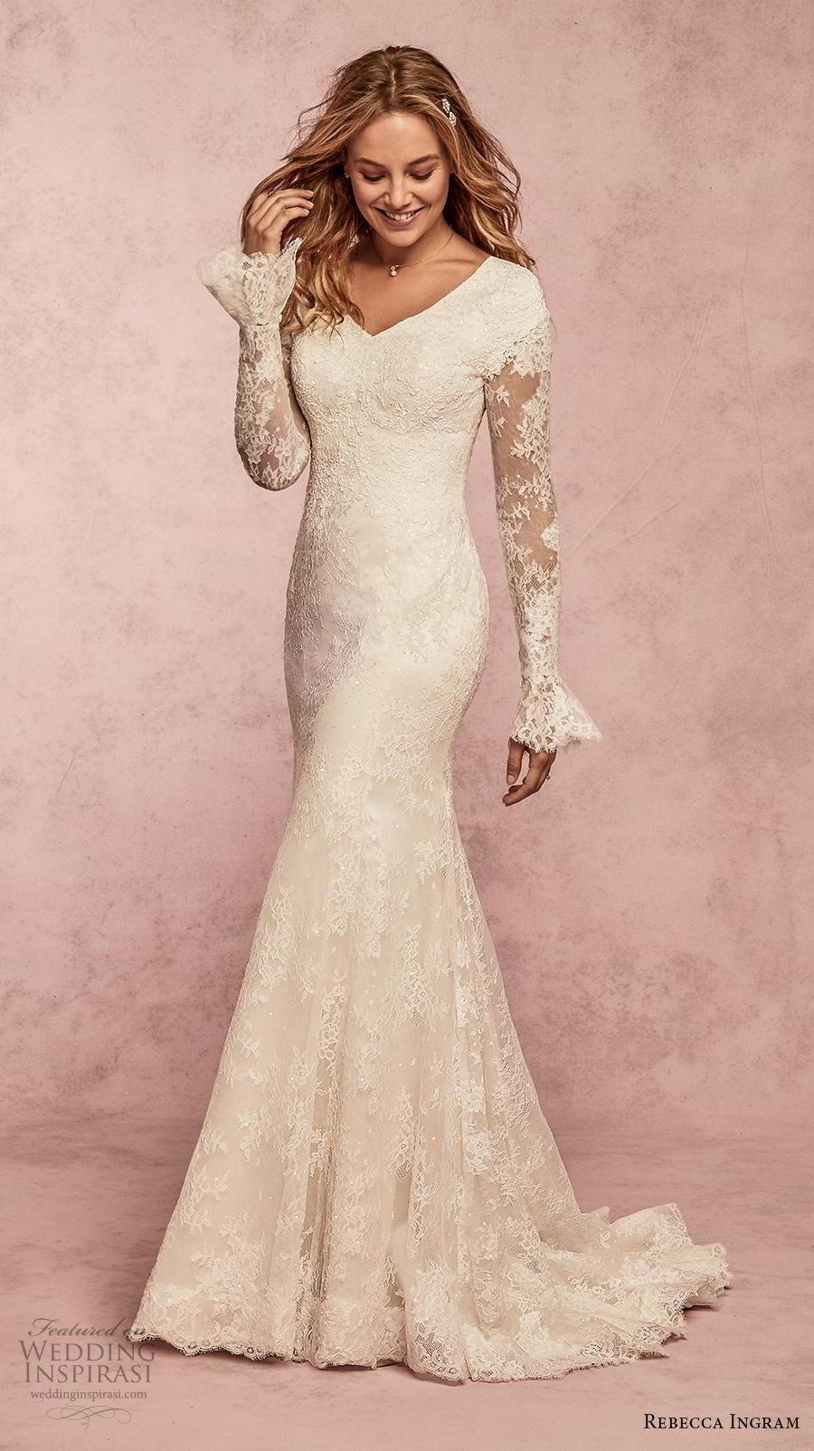 rebecca ingram s2019 bridal long poet sleeves v neck full embellishment elegant modest fit and flare wedding dress covered back sweep train (13) mv