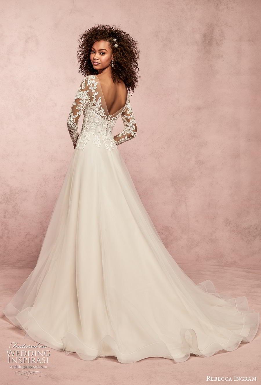 rebecca ingram s2019 bridal long sleeves sweetheart neckline bustier heavily embellished bodice a  line wedding dress v back chapel train (5) bv