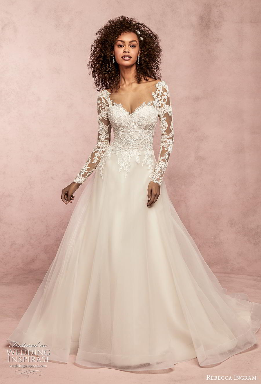 rebecca ingram s2019 bridal long sleeves sweetheart neckline bustier heavily embellished bodice a  line wedding dress v back chapel train (5) mv