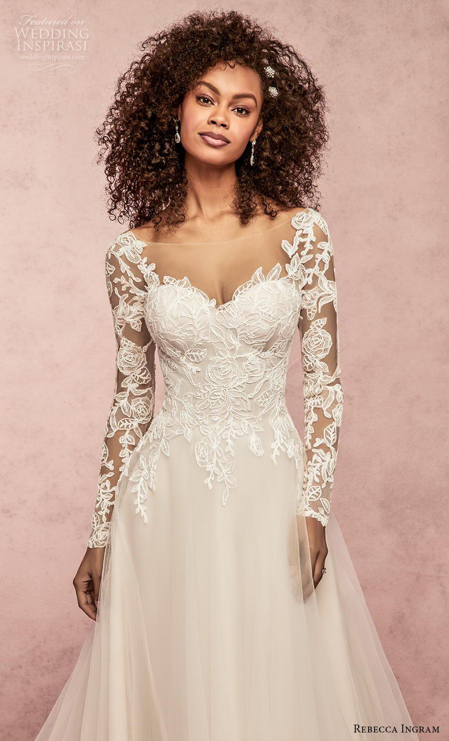 rebecca ingram s2019 bridal long sleeves sweetheart neckline bustier heavily embellished bodice a  line wedding dress v back chapel train (5) zv
