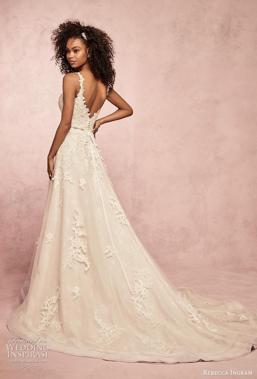 rebecca ingram s2019 bridal sleeveless deep v neck full embellishment romantic  a  line wedding dress v back chapel train (4) bv
