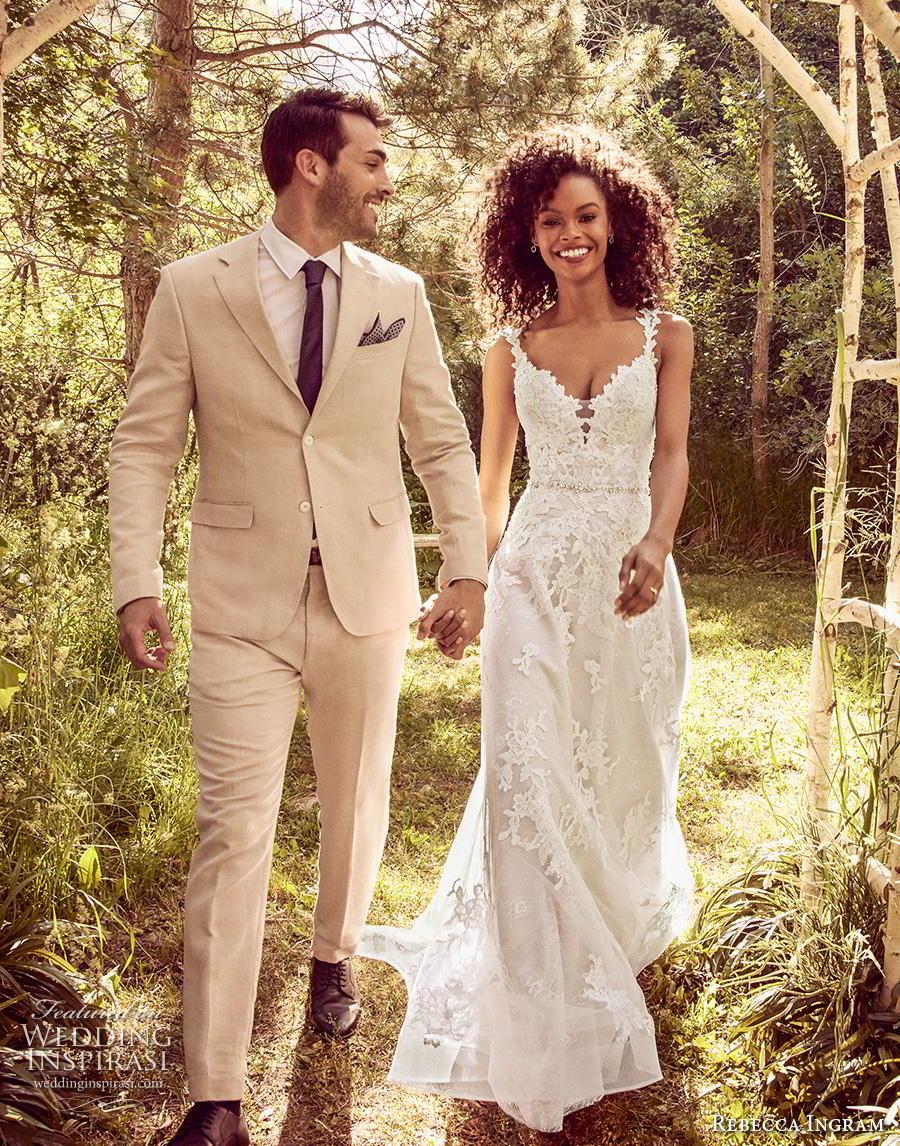 rebecca ingram s2019 bridal sleeveless deep v neck full embellishment romantic  a  line wedding dress v back chapel train (4) mv