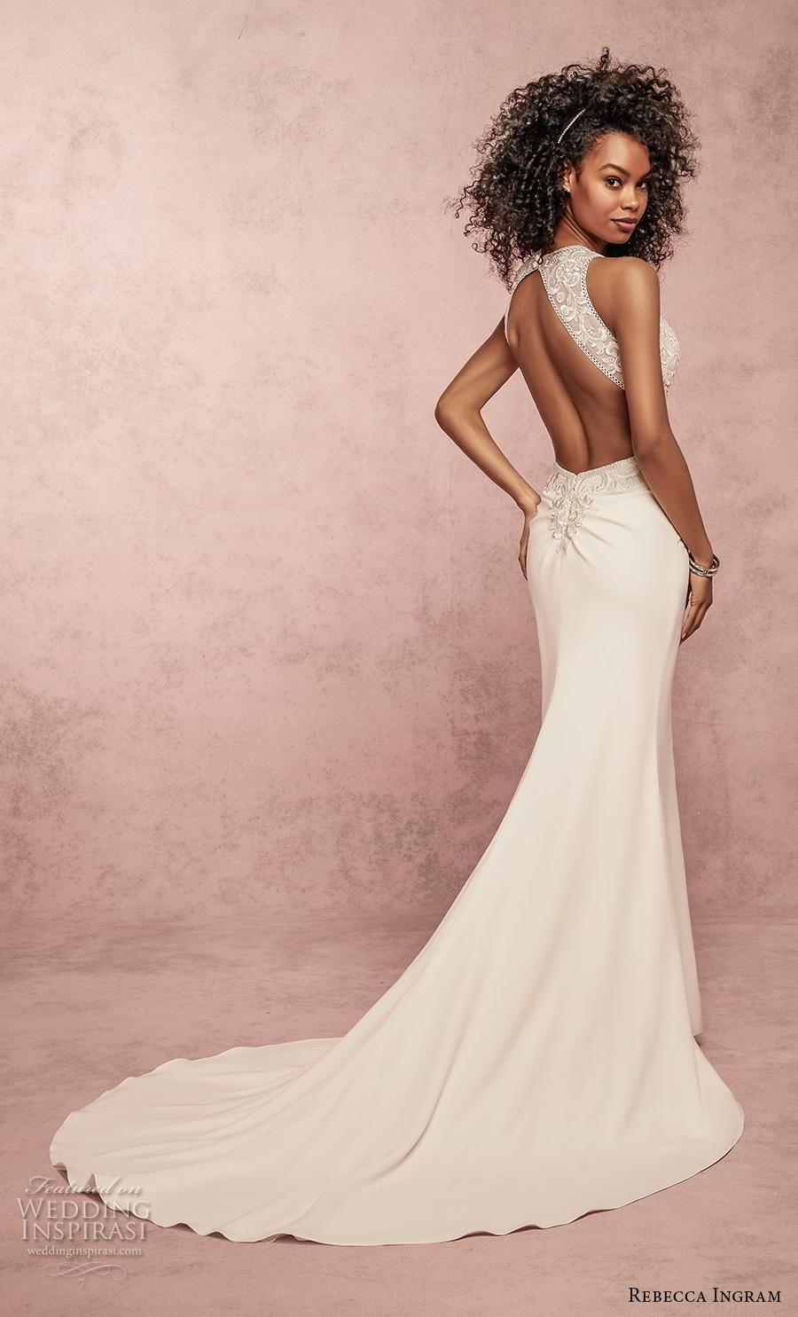 rebecca ingram s2019 bridal sleeveless halter neck heavily embellished bodice elegant fit and flare sheath wedding dress keyhole back medium train (14) bv