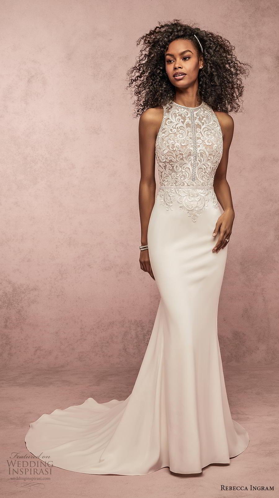 rebecca ingram s2019 bridal sleeveless halter neck heavily embellished bodice elegant fit and flare sheath wedding dress keyhole back medium train (14) mv