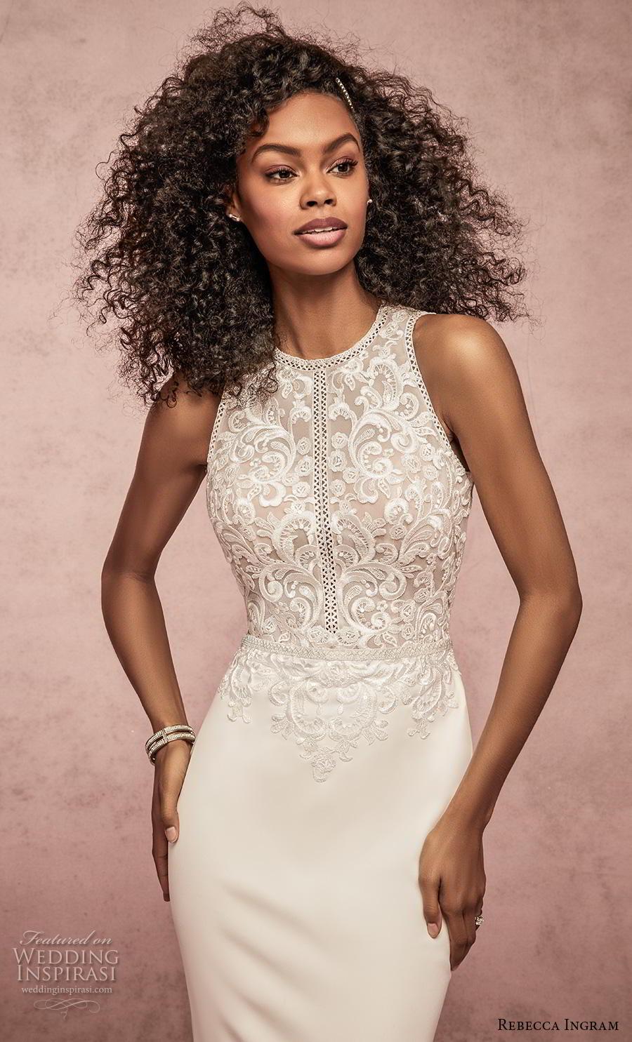 rebecca ingram s2019 bridal sleeveless halter neck heavily embellished bodice elegant fit and flare sheath wedding dress keyhole back medium train (14) zv