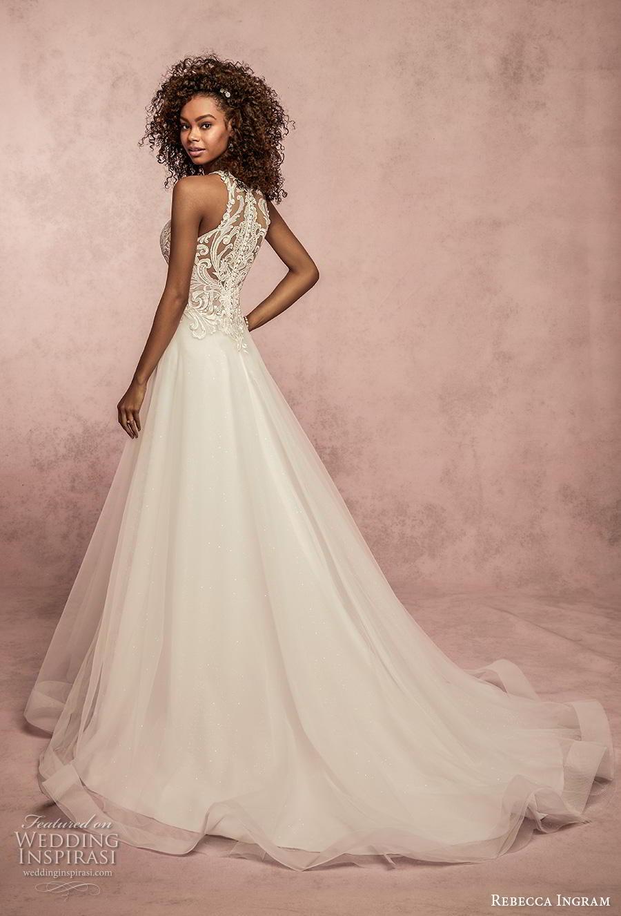 rebecca ingram s2019 bridal sleeveless halter neck jewel neck heavily embellished bodice romantic a  line wedding dress full lace back chapel train (10) bv