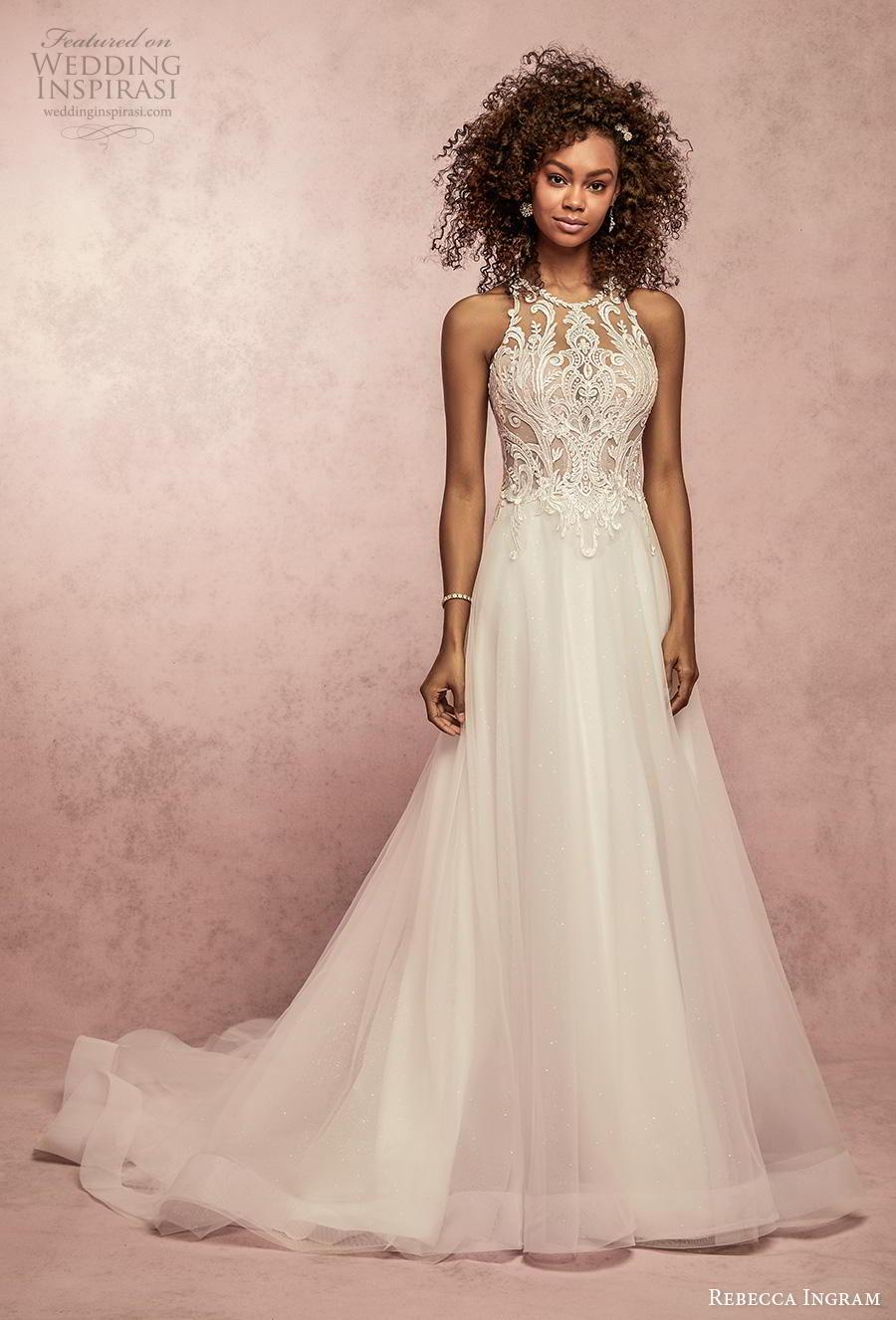 rebecca ingram s2019 bridal sleeveless halter neck jewel neck heavily embellished bodice romantic a  line wedding dress full lace back chapel train (10) mv