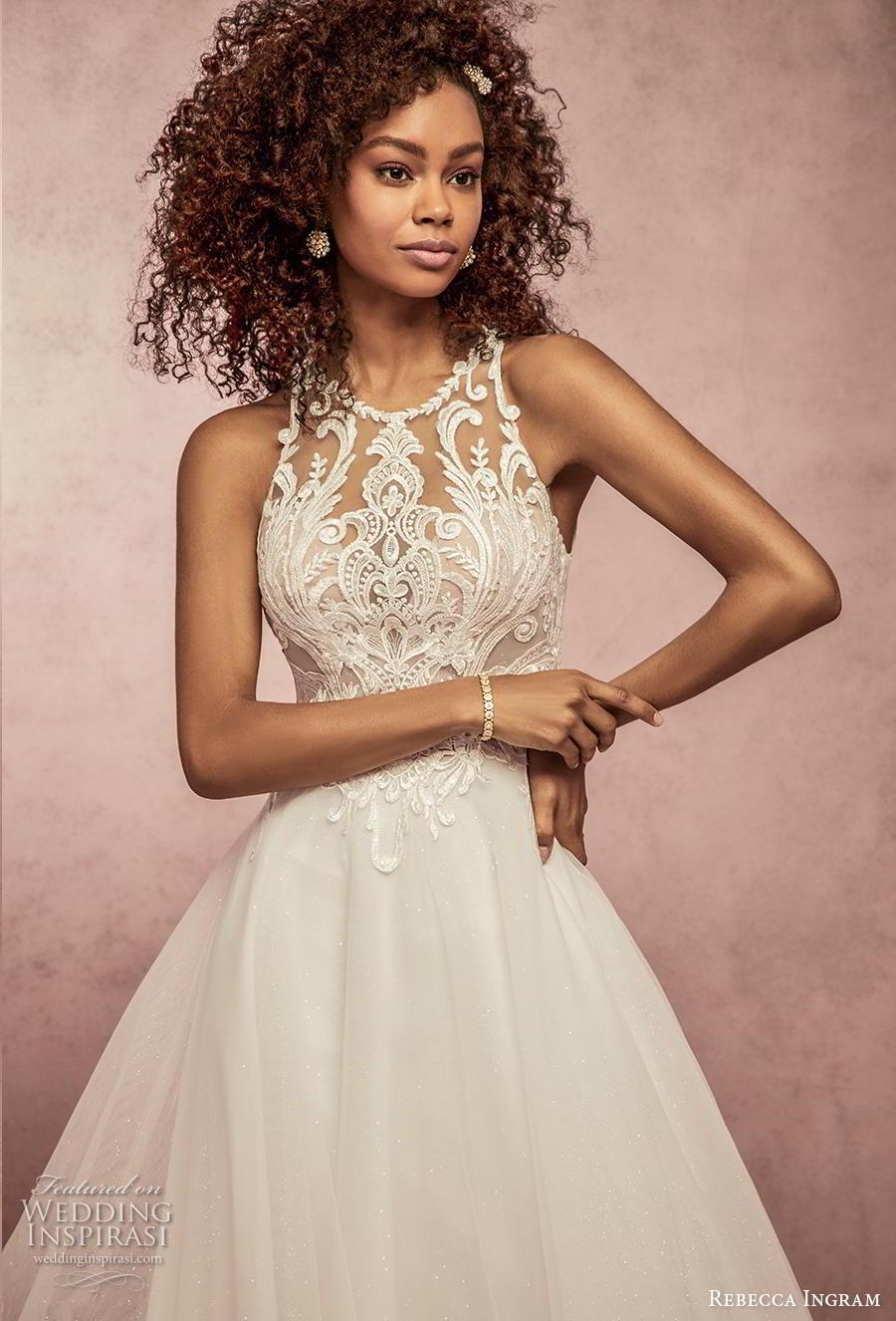 rebecca ingram s2019 bridal sleeveless halter neck jewel neck heavily embellished bodice romantic a  line wedding dress full lace back chapel train (10) zv