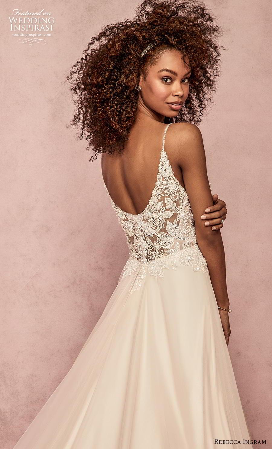 rebecca ingram s2019 bridal sleeveless spaghetti strap deep sweetheart neckline heavily embellished bodice romantic a  line wedding dress scoop back chapel train (11) zbv