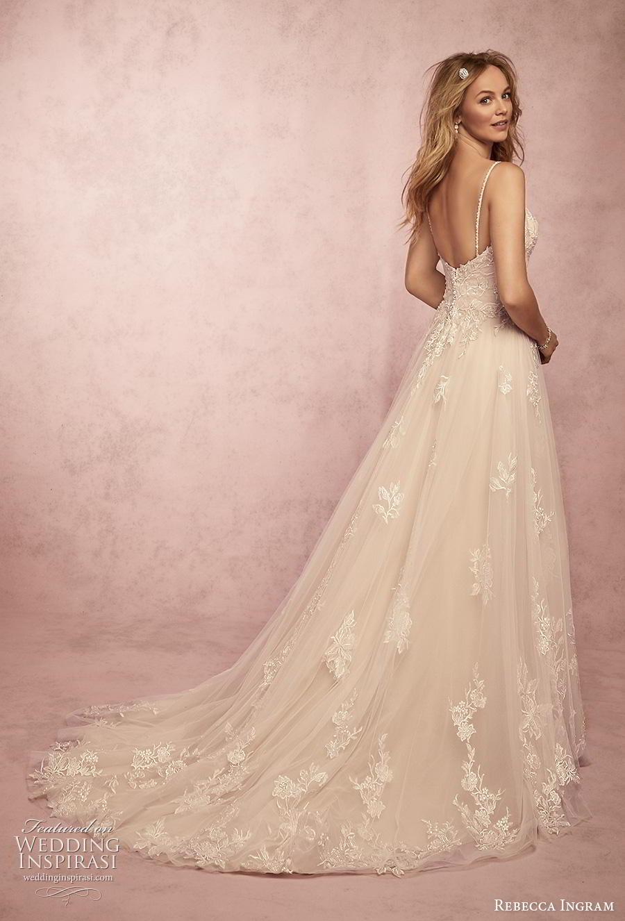 rebecca ingram s2019 bridal sleeveless spaghetti strap diamond neck heavily embellished bodice romantic a  line wedding dress backless chapel train (1) bv