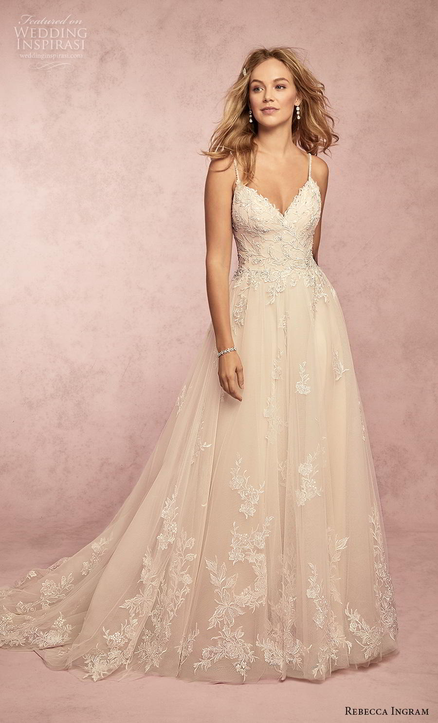 rebecca ingram s2019 bridal sleeveless spaghetti strap diamond neck heavily embellished bodice romantic a  line wedding dress backless chapel train (1) mv