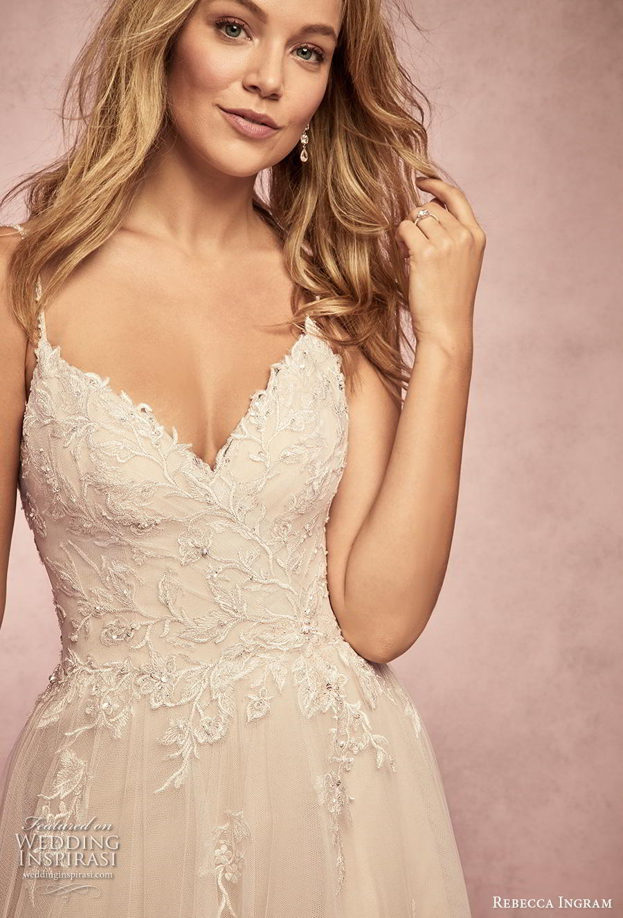 rebecca ingram s2019 bridal sleeveless spaghetti strap diamond neck heavily embellished bodice romantic a  line wedding dress backless chapel train (1) zv