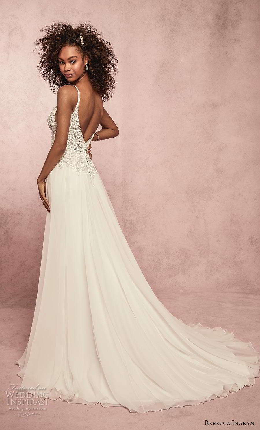 rebecca ingram s2019 bridal sleeveless spaghetti strap diamond neck heavily embellished bodice romantic a  line wedding dress backless v back medium train (12) bv