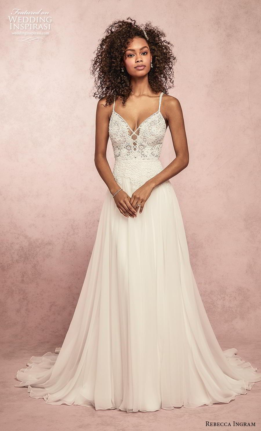 rebecca ingram s2019 bridal sleeveless spaghetti strap diamond neck heavily embellished bodice romantic a  line wedding dress backless v back medium train (12) mv