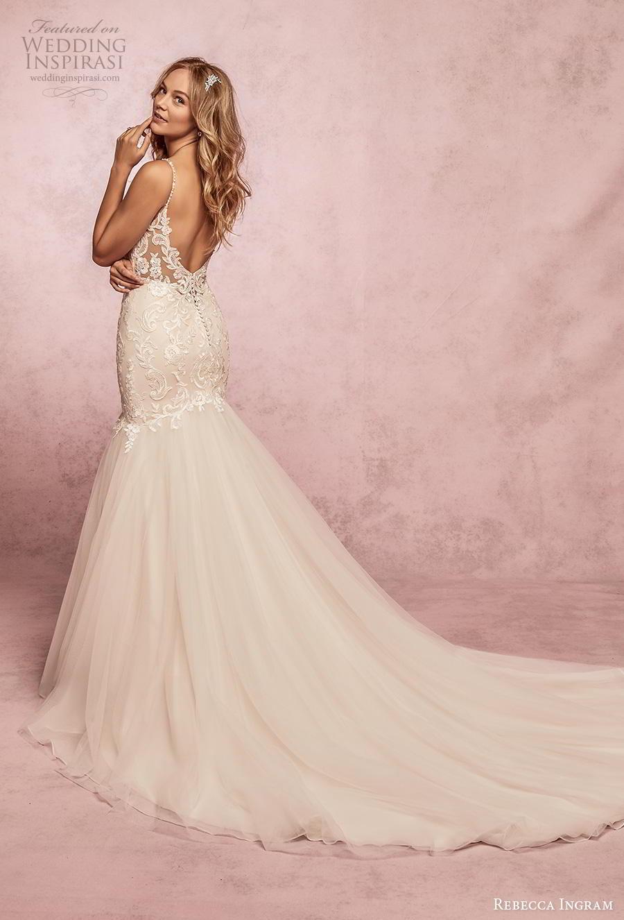 rebecca ingram s2019 bridal sleeveless spaghetti strap sweetheart neckline heavily embellished bodice mermaid wedding dress backless scoop back chapel train (8) bv
