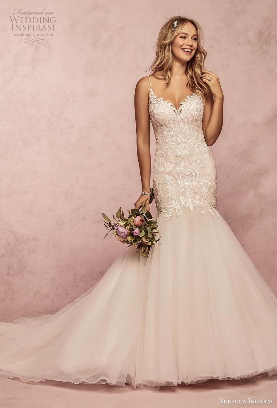rebecca ingram s2019 bridal sleeveless spaghetti strap sweetheart neckline heavily embellished bodice mermaid wedding dress backless scoop back chapel train (8) mv