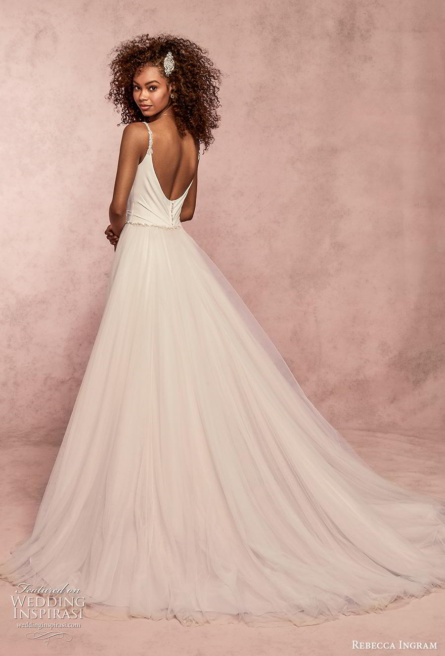 rebecca ingram s2019 bridal sleeveless thin strap simple wrap over tulle skirt romantic a  line wedding dress backless scoop back chapel train (7) bv