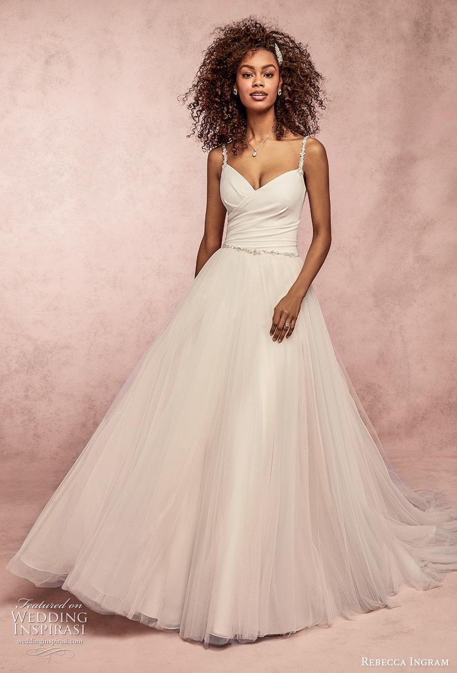 rebecca ingram s2019 bridal sleeveless thin strap simple wrap over tulle skirt romantic a  line wedding dress backless scoop back chapel train (7) mv
