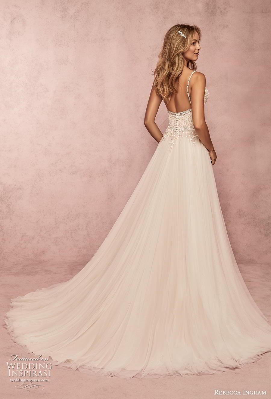 rebecca ingram s2019 bridal sleeveless thin strap sweetheart neckline heavily embellished bodice romantic a  line wedding dress backless chapel train (6) bv