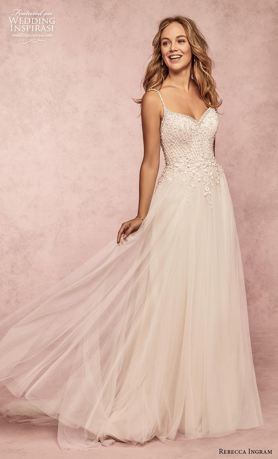 rebecca ingram s2019 bridal sleeveless thin strap sweetheart neckline heavily embellished bodice romantic a  line wedding dress backless chapel train (6) mv