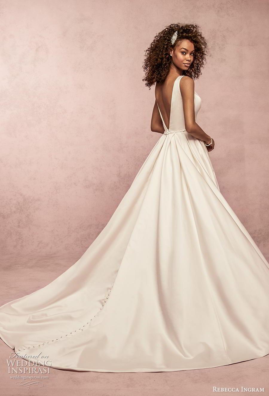 rebecca ingram s2019 bridal sleeveless v neck simple clean embellished waist elegant classic a  line wedding dress pockets v back chapel train (3) bv