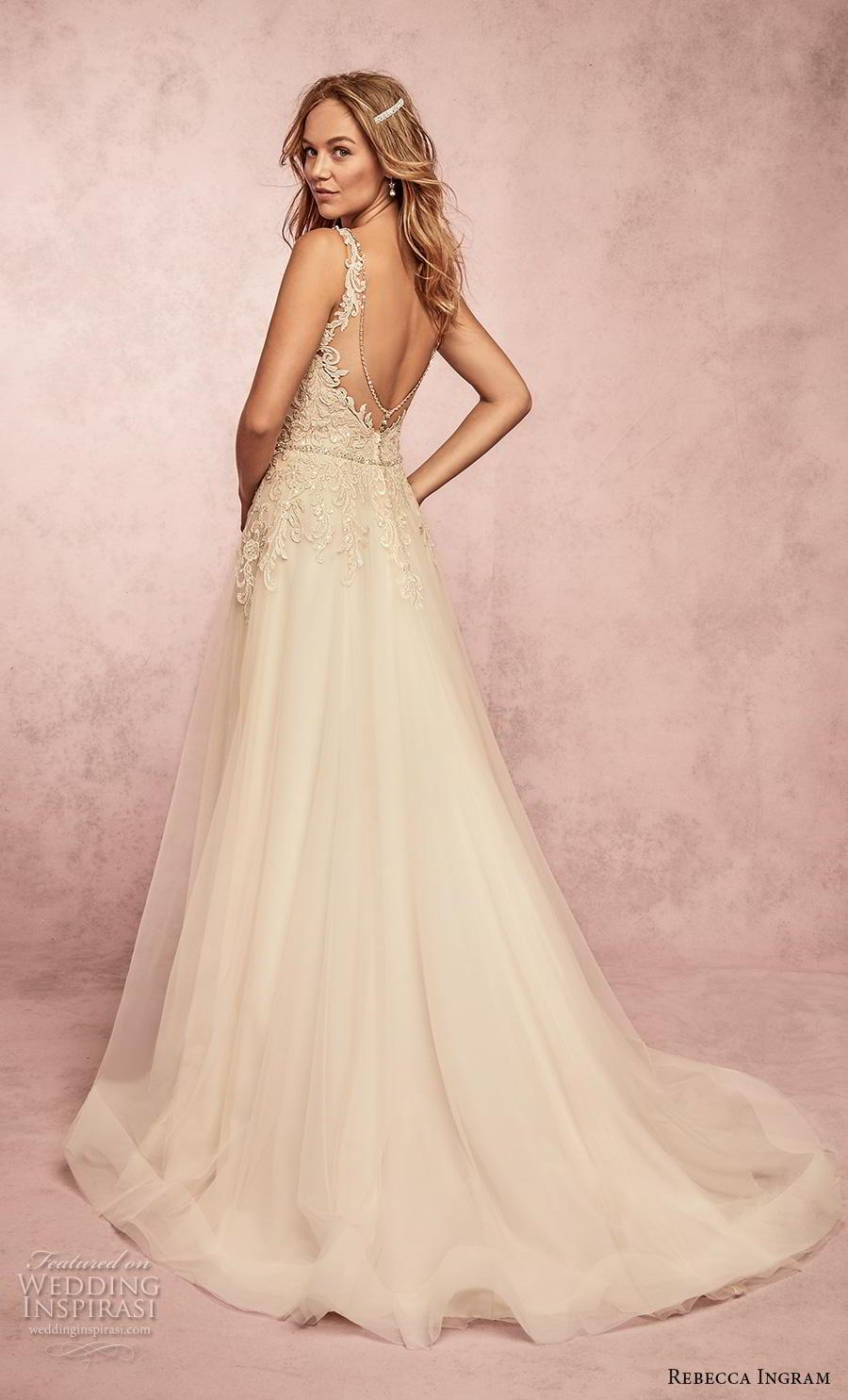 rebecca ingram s2019 bridal sleeveless with strap v neck heavily embellished bodice romantic a  line wedding dress backless v back sweep train (16) bv