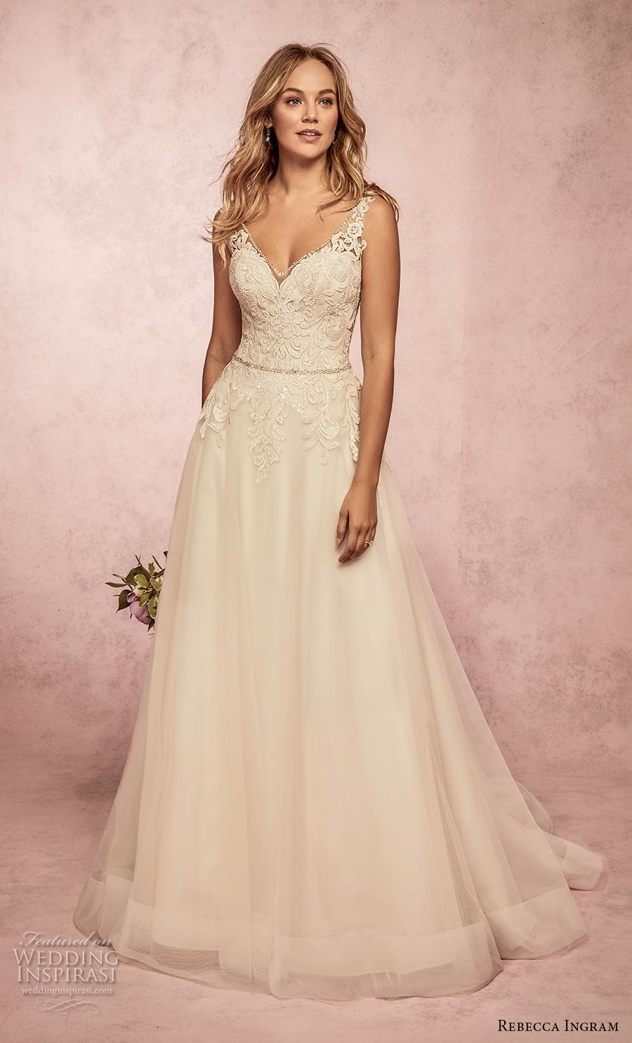 rebecca ingram s2019 bridal sleeveless with strap v neck heavily embellished bodice romantic a  line wedding dress backless v back sweep train (16) mv