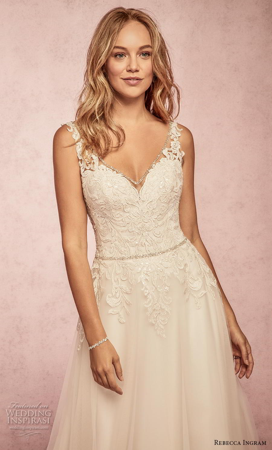 rebecca ingram s2019 bridal sleeveless with strap v neck heavily embellished bodice romantic a  line wedding dress backless v back sweep train (16) zv