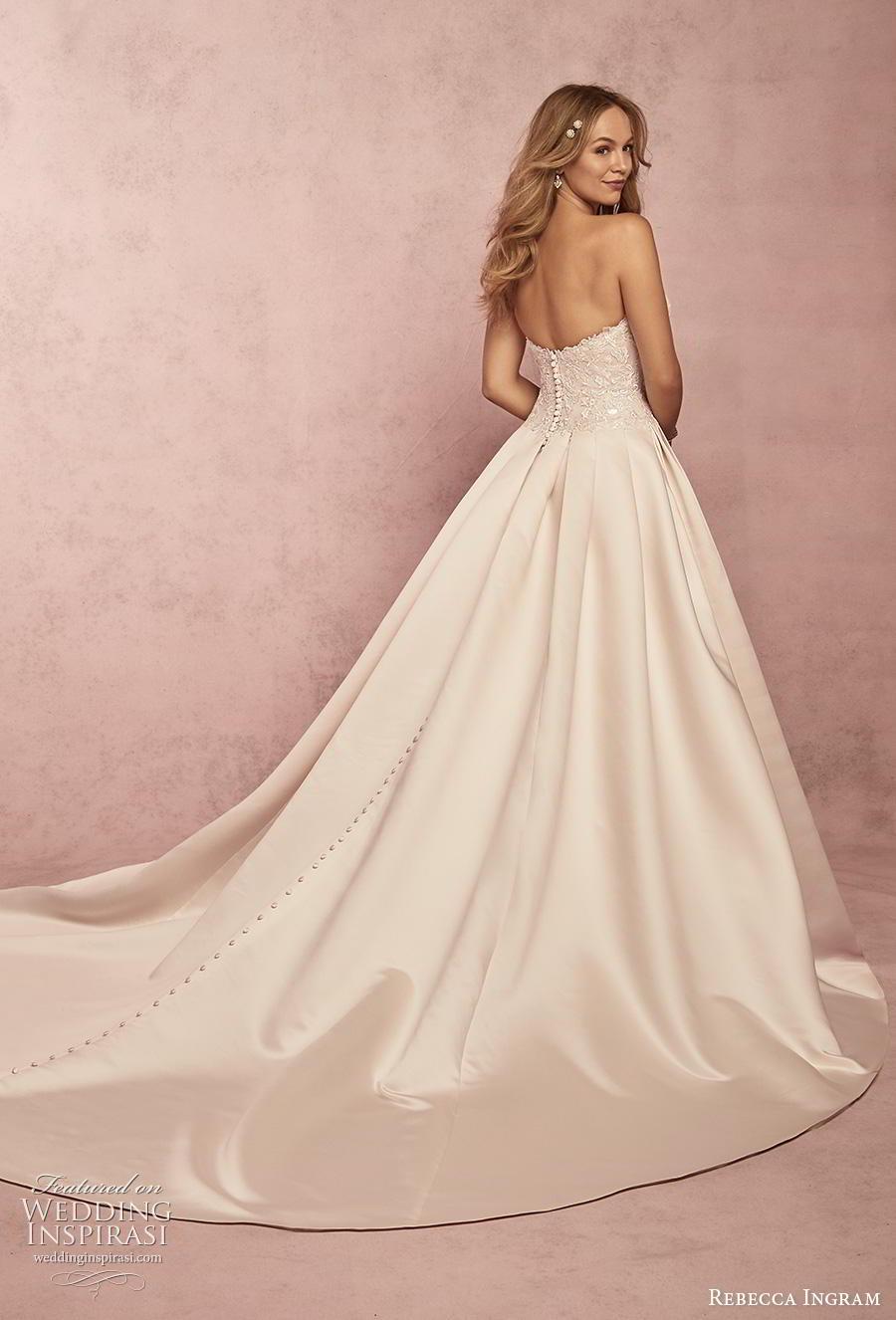 rebecca ingram s2019 bridal strapless sweetheart neckline heavily embellished bodice romantic ball gown a  line wedding dress mid back chapel train (2) bv