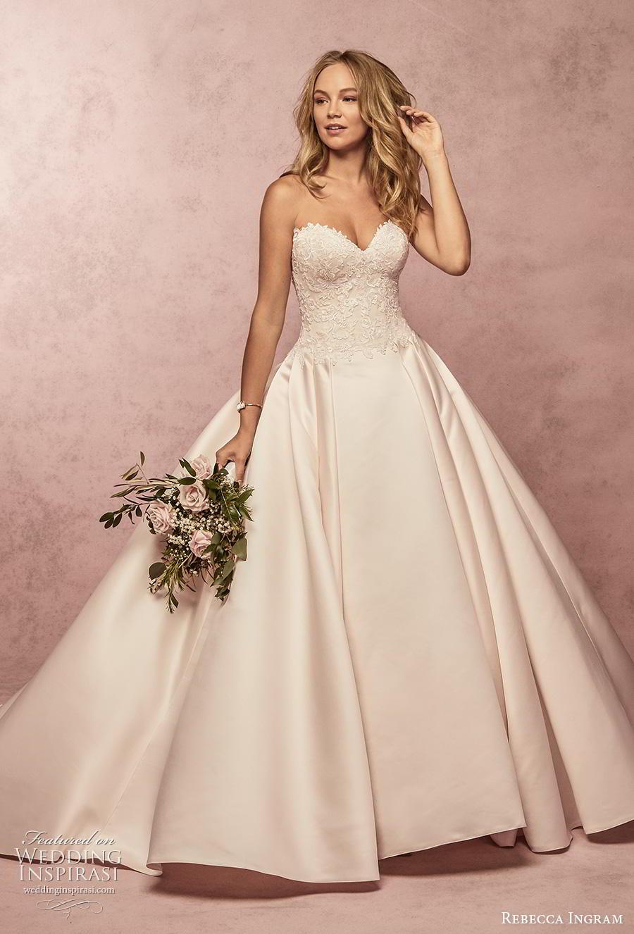 rebecca ingram s2019 bridal strapless sweetheart neckline heavily embellished bodice romantic ball gown a  line wedding dress mid back chapel train (2) mv