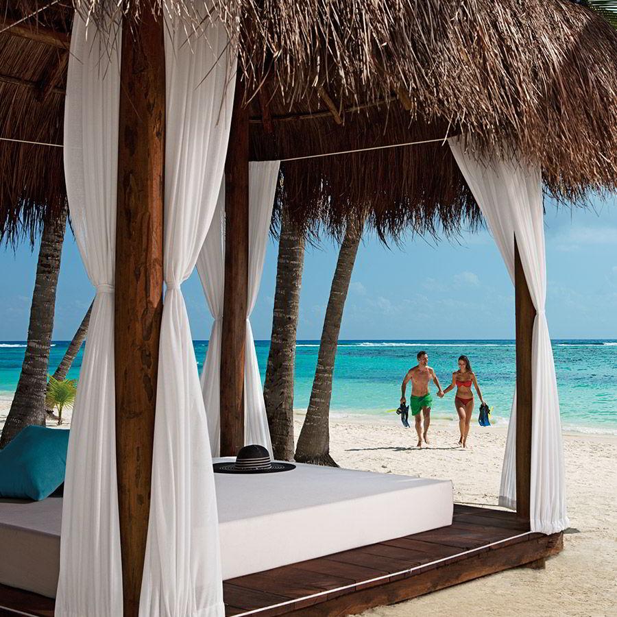 secrets resorts akumal riviera maya mexico destination wedding honeymoon luxury adult only all inclusive resort snorkeling couple balinese daybed beach