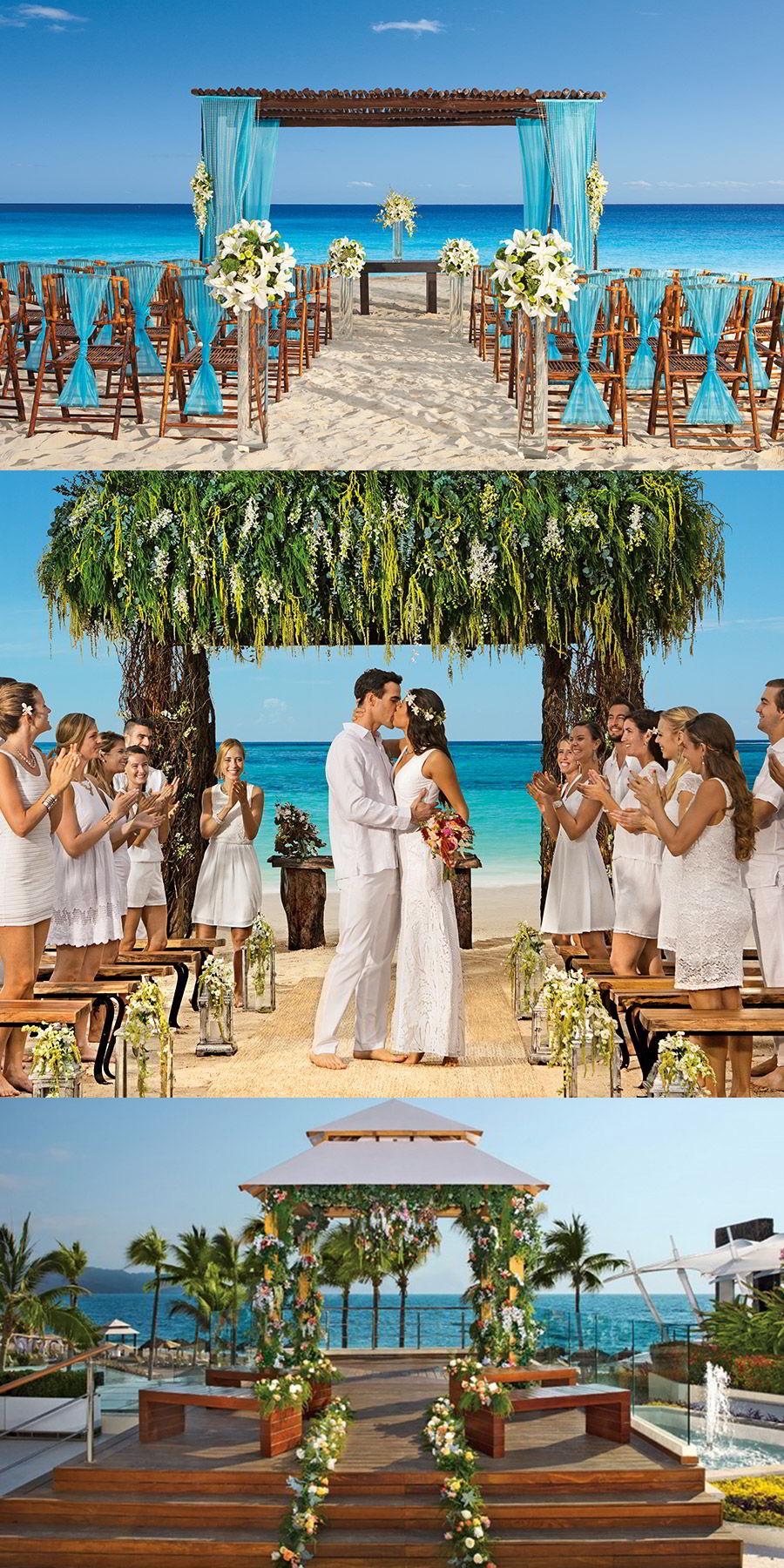 secrets resorts caribbean beach destination wedding luxury honeymoon beachfront barefoot wedding venue boho chic bohemian style beach nuptials capri akumal vallarta