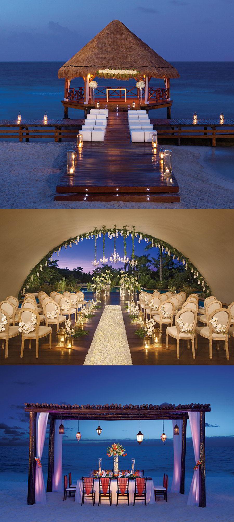 secrets resorts caribbean beach destination wedding luxury honeymoon charming bohemian enchanted wedding venue night gazebo arch silversands akumal capri