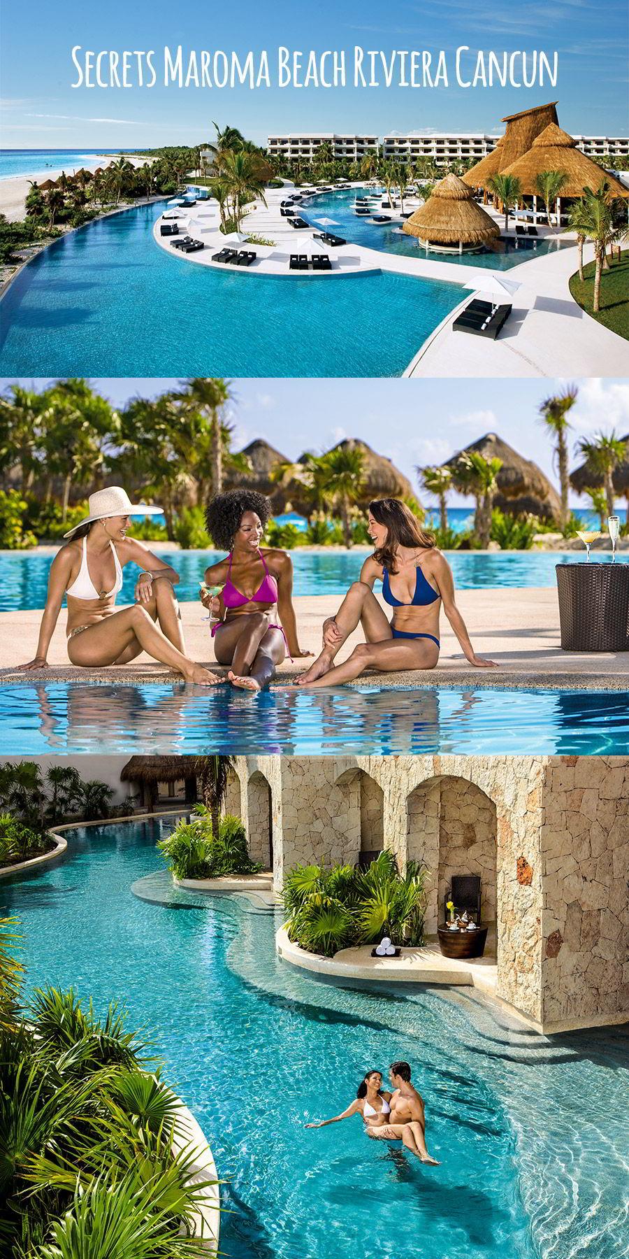 secrets resorts maroma beach riviera cancun mexico destination wedding venue honeymoon luxury resort beach pool side swim out suites