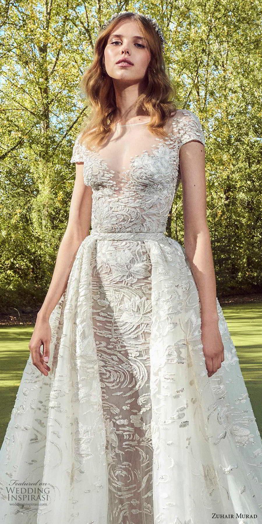 zuhair murad fall 2019 bridal cap sleeves illusion bateau sweetheart neckline full embellishment romantic sheath wedding dress a  line overskirt chapel train (15) zv